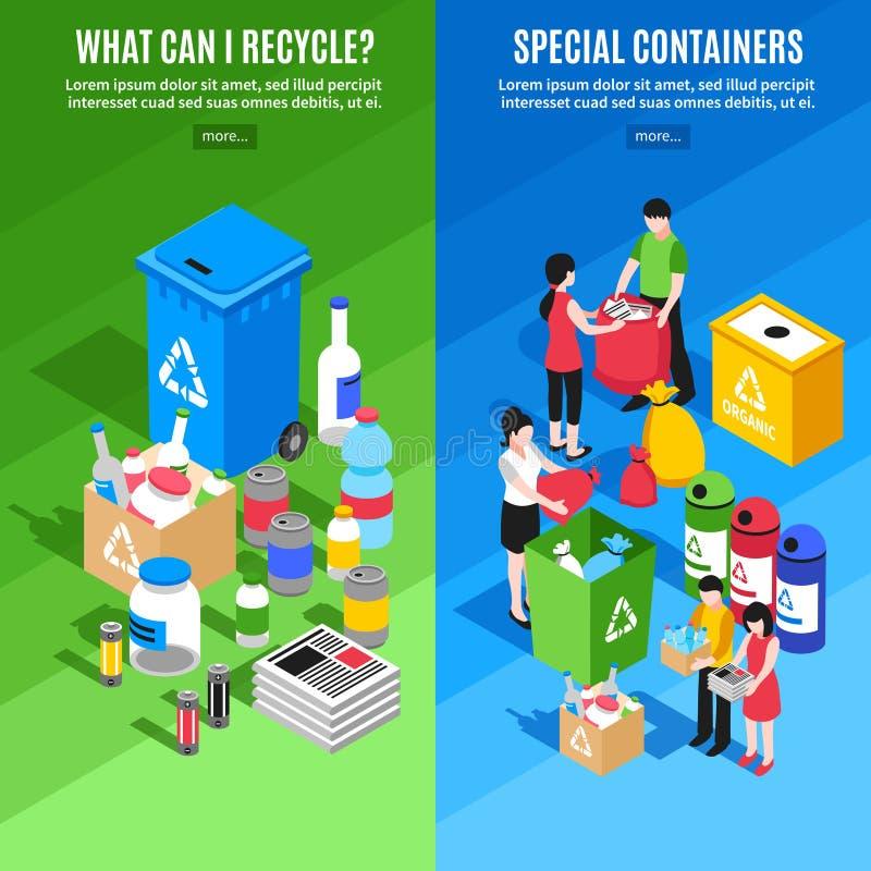 Huisvuil die Verticale Banners recycleren vector illustratie