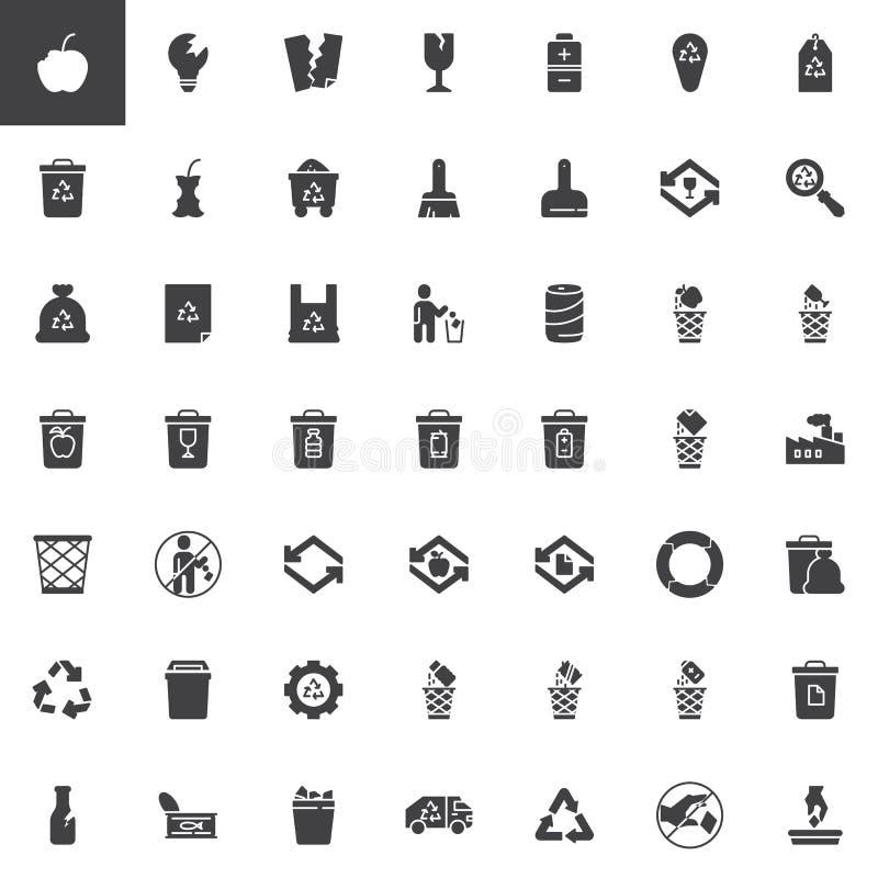 Huisvuil en recyclings vector geplaatste pictogrammen stock illustratie