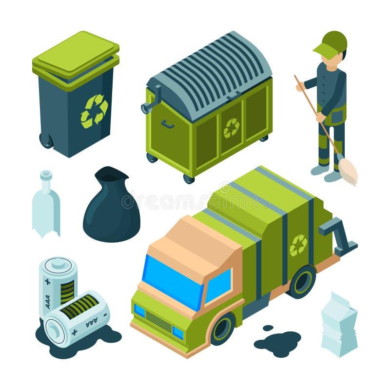 Huisvuil isometrisch recycling Van de de vrachtwagen stedelijke verbrandingsoven van de stads schoonmakende dienst het nutsbak me stock illustratie