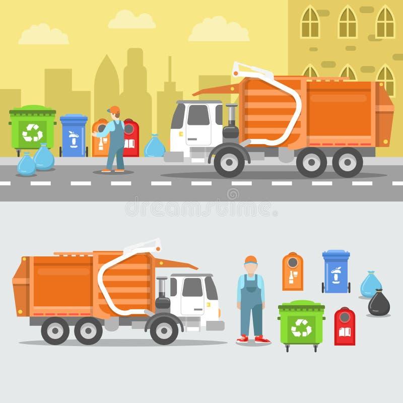 Huisvuil Recyclingsreeks met Vrachtwagen en Containers vector illustratie