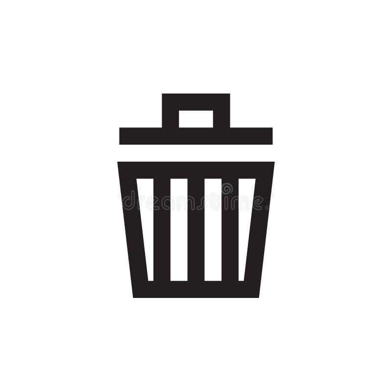 Huisvuil - zwart pictogram op witte vectorillustratie als achtergrond Het teken van het afvalconcept De Bak van het afval Schrap  stock illustratie