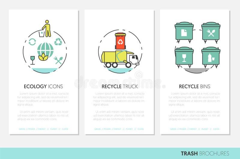Huisvuilafval Recyclings Bedrijfsbrochuremalplaatje met Lineaire Dunne Lijnpictogrammen vector illustratie