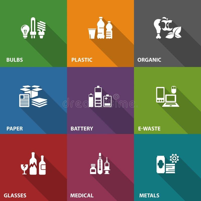 Huisvuilafval recyclingspictogrammen op kleur vector illustratie