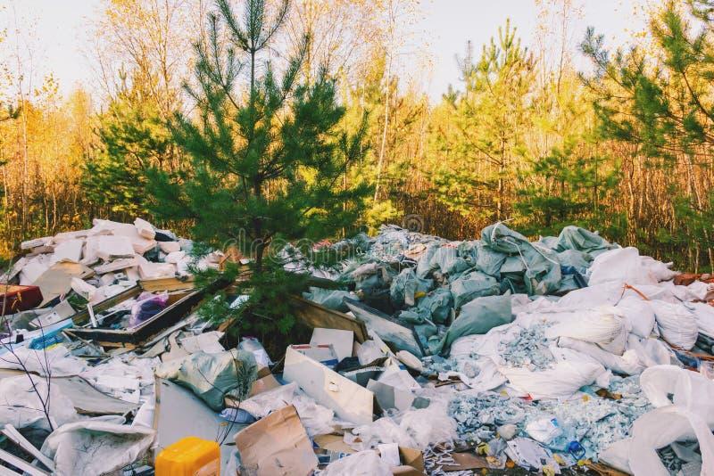 Huisvuilstortplaats in de bos, slechte ecologie royalty-vrije stock afbeelding