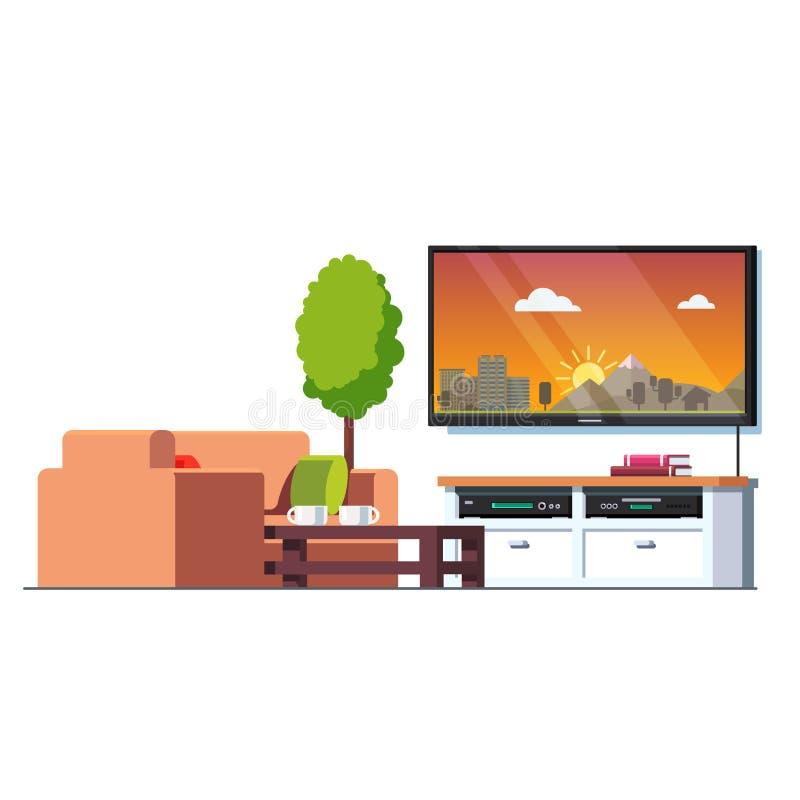 Huiswoonkamer met lijst, laag, het scherm van muurtv stock illustratie