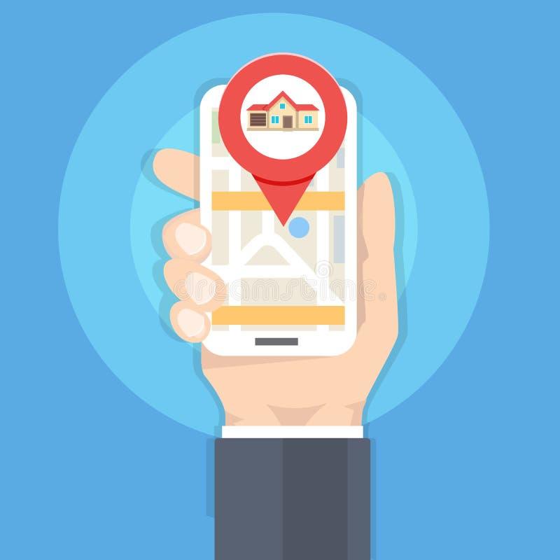 Huiszoeking met telefoon app, smartphone van de Handholding, onroerende goederenconcept royalty-vrije illustratie