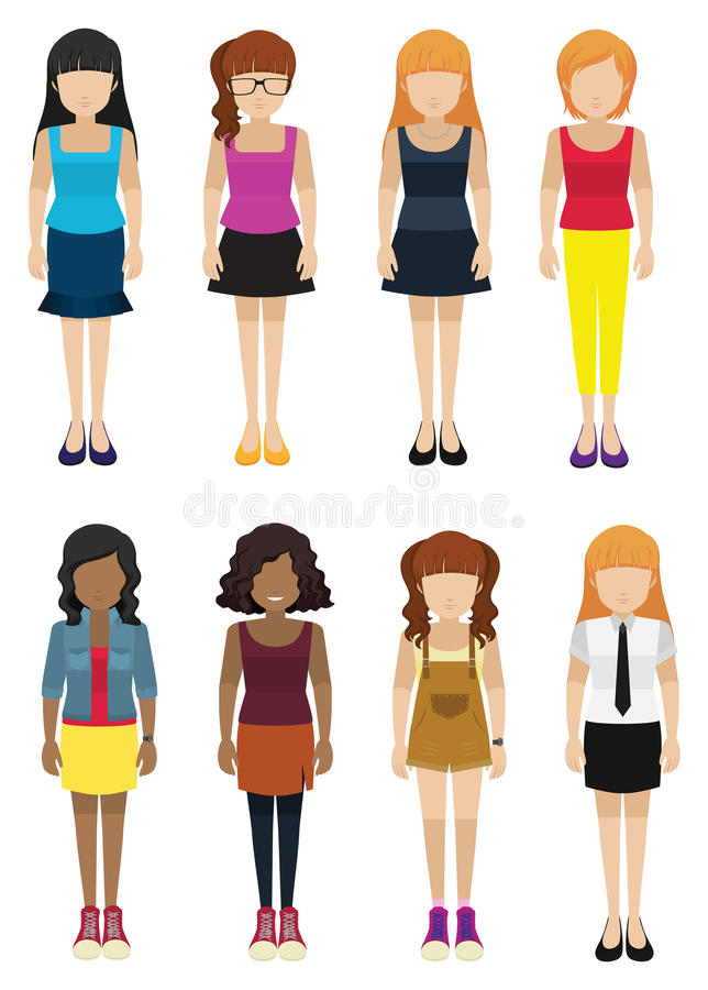 Huit dames sans visage illustration de vecteur