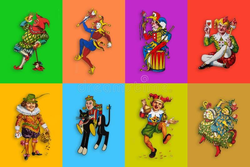 Huit jokers de carte dans des rectangles colorés illustration libre de droits