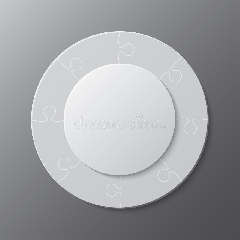 Huit morceaux de puzzle denteux de cercles de graphique de l'information illustration de vecteur