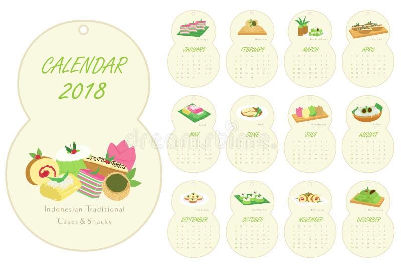 Huit ont formé 2018 le calendrier, vecteur traditionnel indonésien de bande dessinée de gâteaux illustration libre de droits