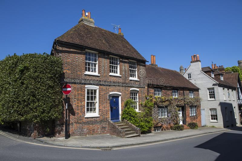 Huizen in Arundel, West-Sussex stock foto