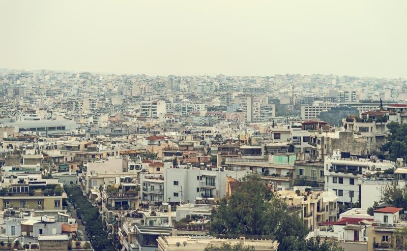 Huizen in Athene, Griekenland stock fotografie