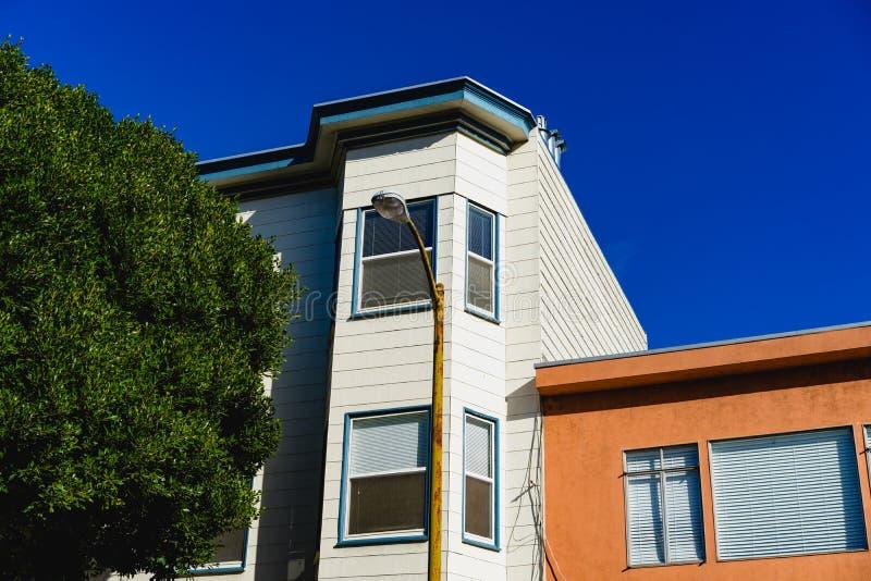 Huizen in Bernal-Hoogten, SF royalty-vrije stock foto