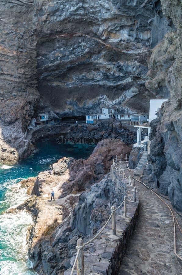 Huizen bij kust in Poris DE Candelaria La Palma, Spanje stock afbeeldingen