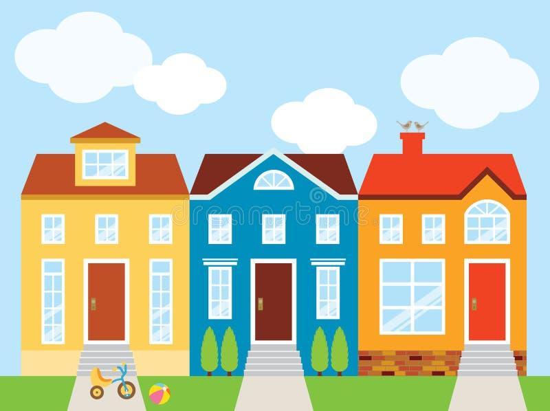 Huizen in de stad royalty-vrije illustratie