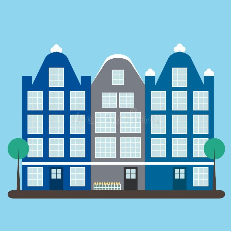 huizen Drie leuke huizen van Amsterdam De pictogrammen van huizen vector illustratie