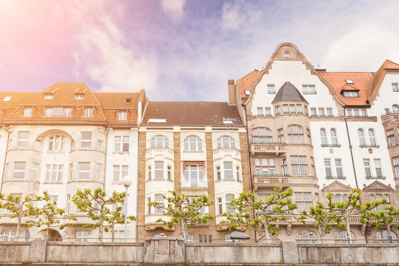 Huizen in Dusseldorf stock foto