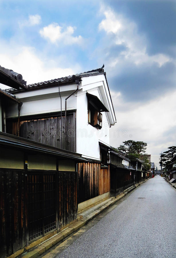 Huizen en pakhuis, Shinmachi-Straat, OMI-Hachiman, Japan stock fotografie