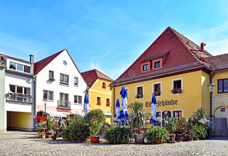 Huizen en restaurants in Radebeul Kötzschenbroda Duitsland royalty-vrije stock foto