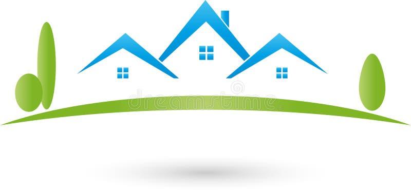 Huizen en weide, makelaar in onroerend goed en onroerende goederenembleem vector illustratie