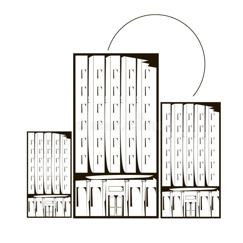 Huizen en zon van overzichts de de zwart-wit wolkenkrabbers royalty-vrije illustratie