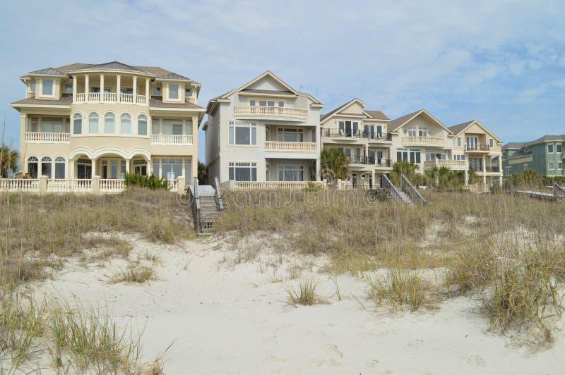 Huizen langs kust, Hilton Head Island, Zuid-Carolina royalty-vrije stock afbeeldingen