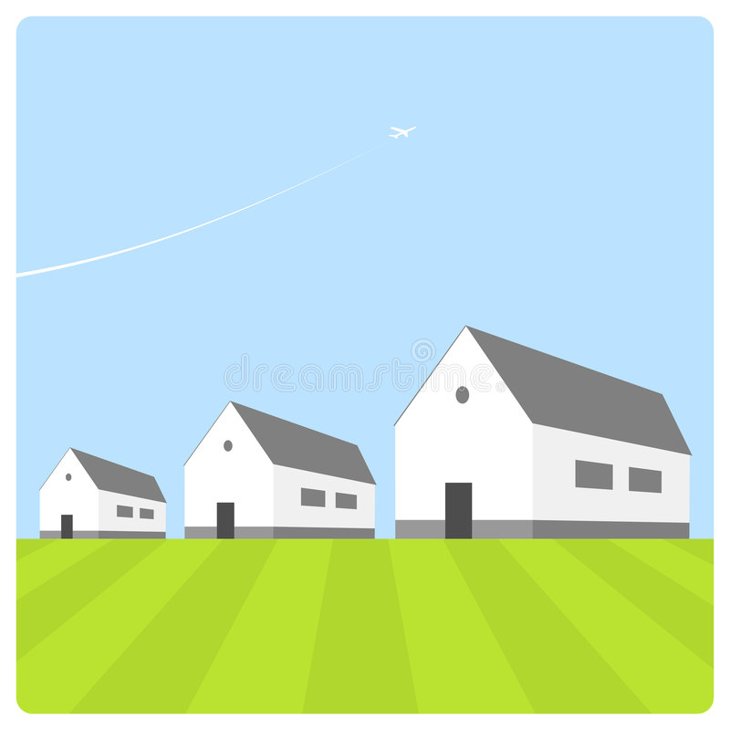 Huizen met blauwe hemel stock illustratie