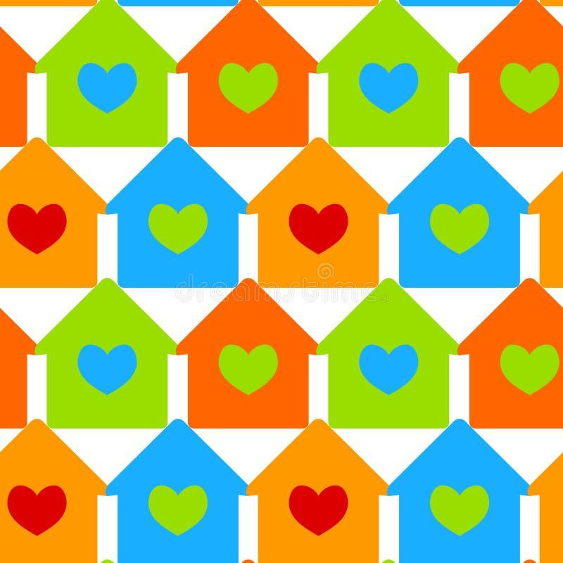 Huizen met de naadloze achtergrond van hartvensters vector illustratie