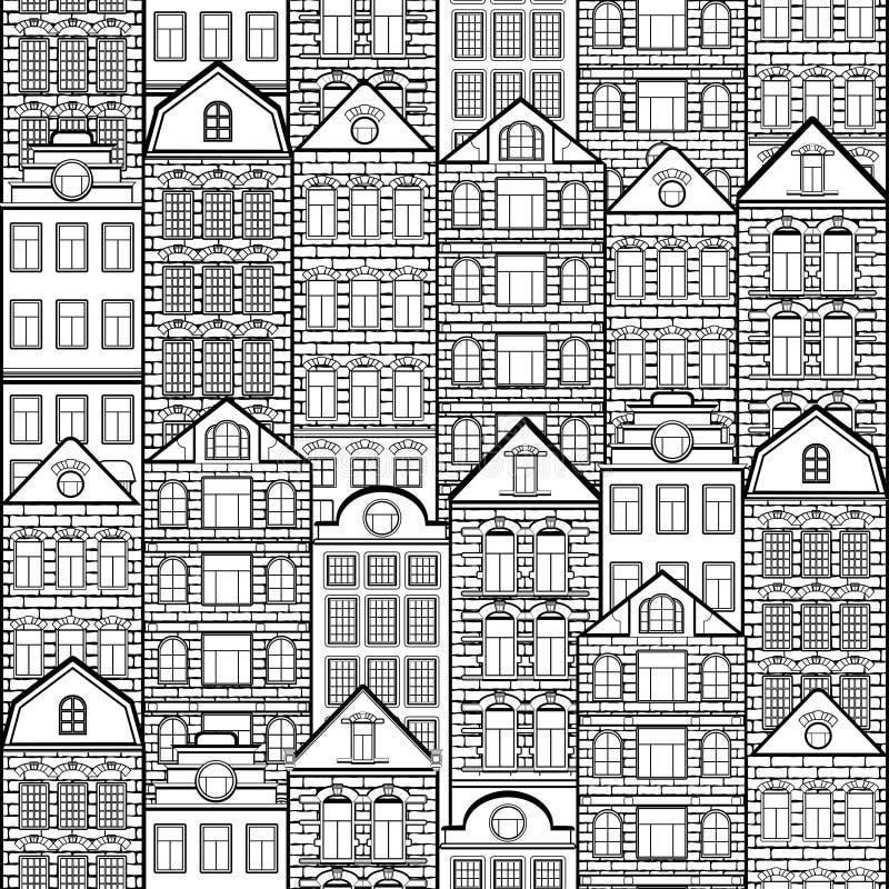 Huizen naadloos patroon, zwart-witte tekening, de achtergrond van de silhouetstad, stedelijk kleurend landschap Zwart-wit overzic vector illustratie