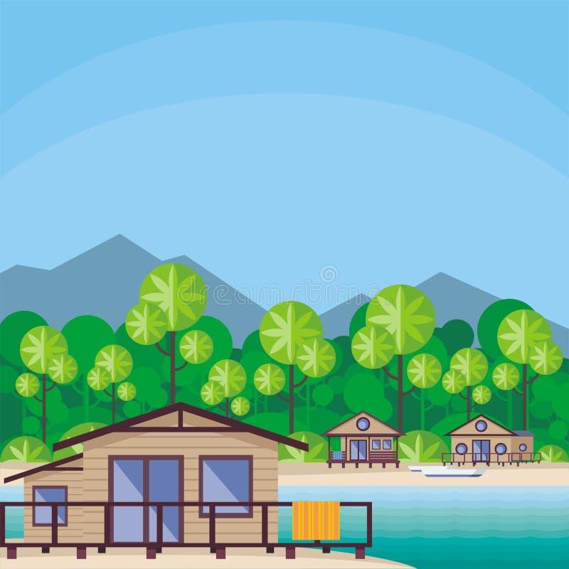 Huizen op de kust vector illustratie