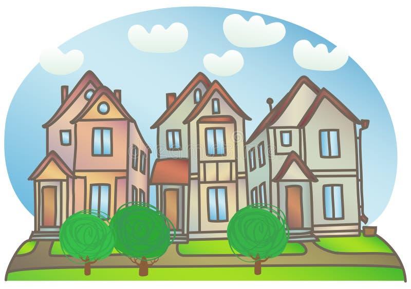 Huizen op de straat stock illustratie