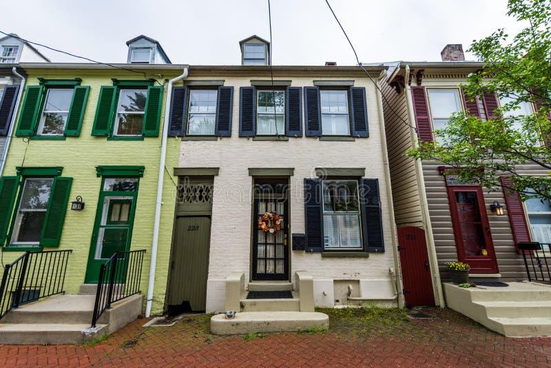 Huizen op Derde Straat in Historische Federick Van de binnenstad, Maryland stock foto