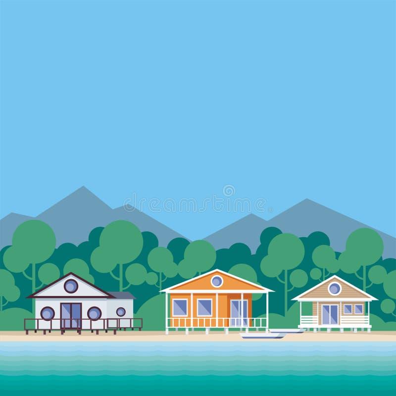 Huizen op het strand vector illustratie