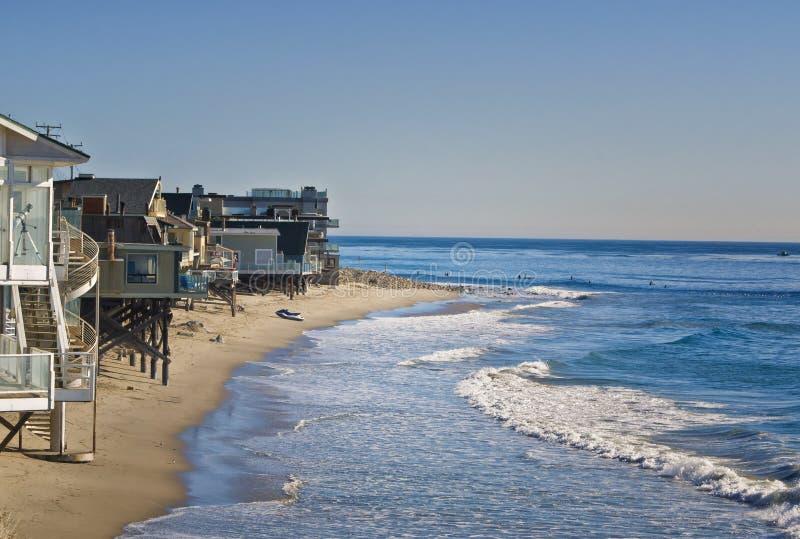 Huizen op het Strand, Californië royalty-vrije stock fotografie