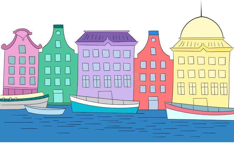 Huizen op illustratie van de kanaal de vectorkleur royalty-vrije illustratie