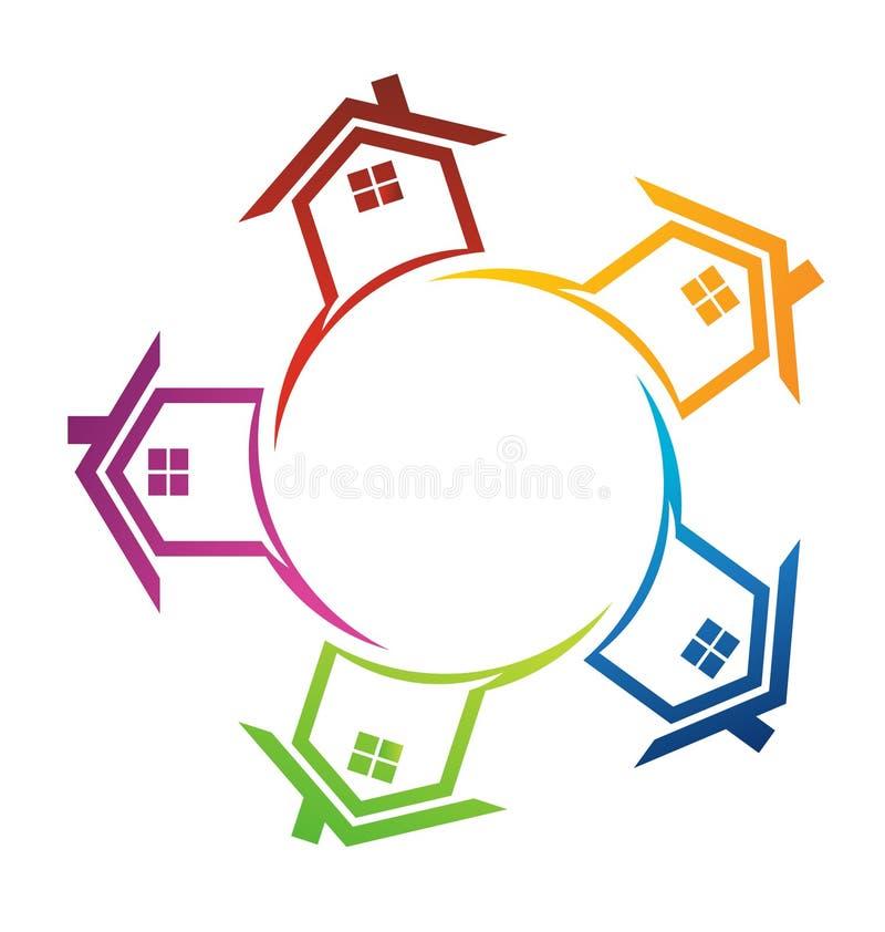 Huizen rond een cirkel vector illustratie