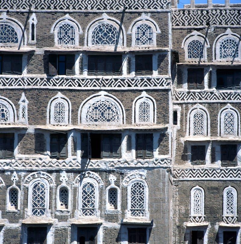 Huizen in Sanaa Yemen royalty-vrije stock foto's
