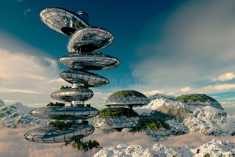 Huizen van de toekomst vector illustratie