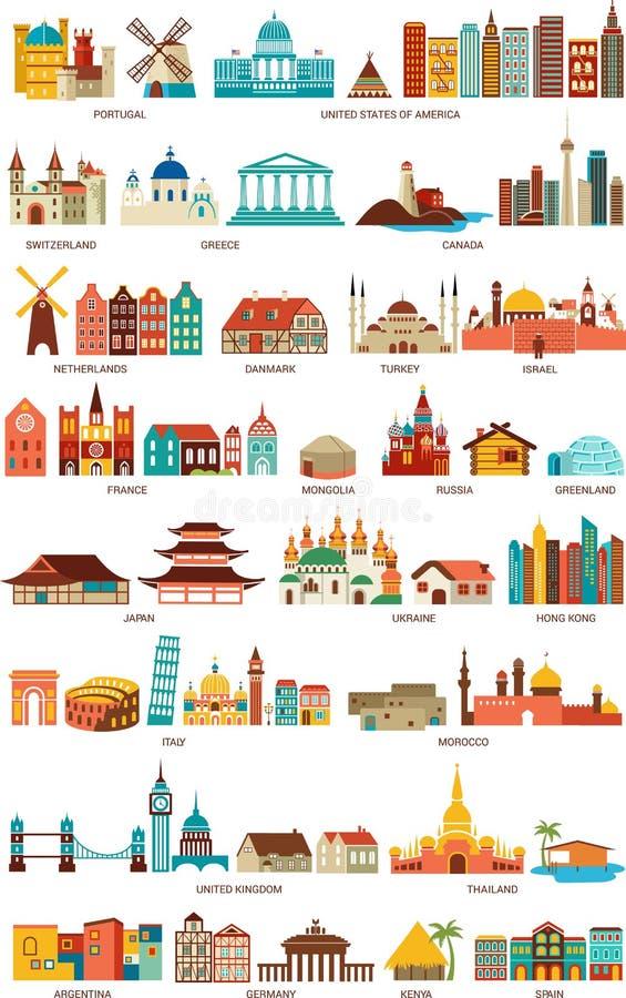 Huizen van de wereld vector illustratie