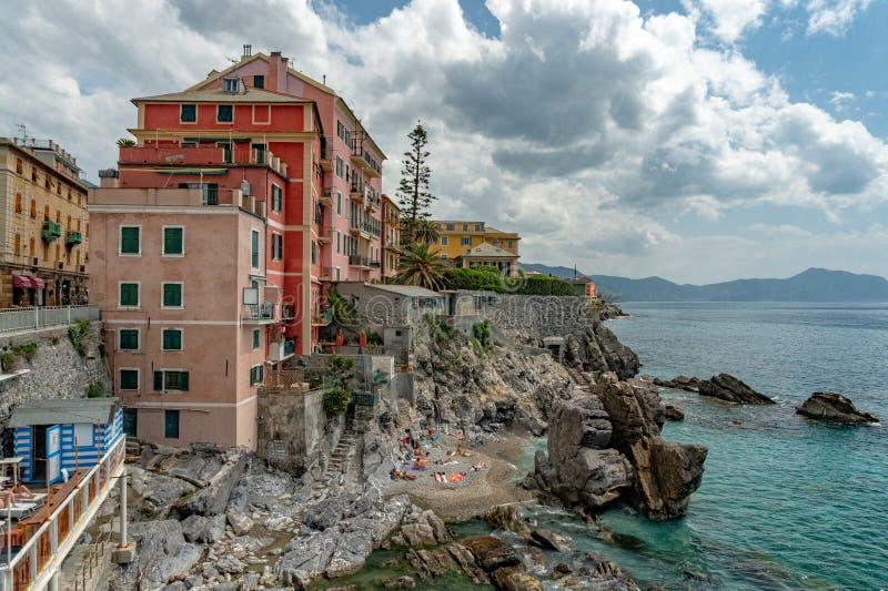 Huizen van het het dorpsdistrict van Genua Nervi de historische royalty-vrije stock foto's