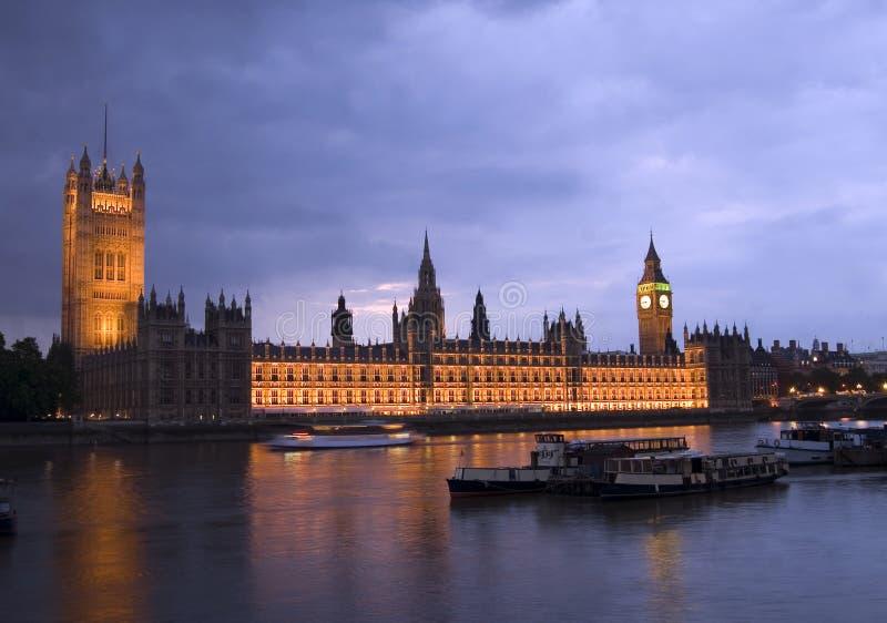 Huizen van het parlement bij Nacht royalty-vrije stock foto's