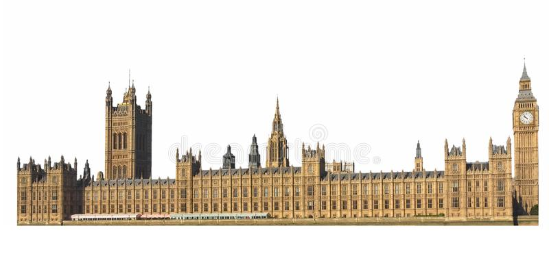 Huizen van Parlement in Londen over wit wordt het geïsoleerd dat royalty-vrije stock afbeeldingen