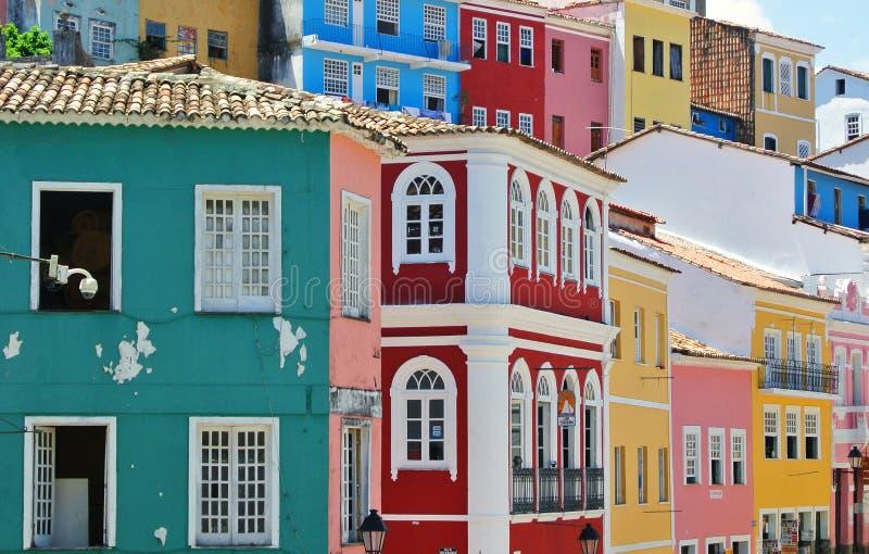 Huizen van Pelourinho stock afbeelding