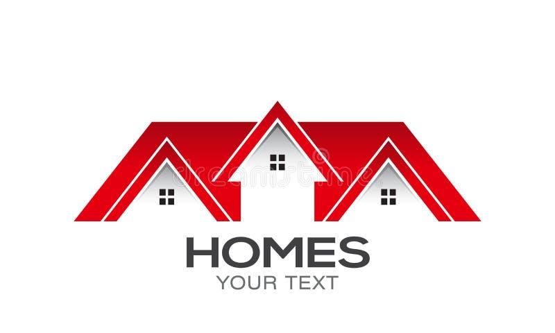 Huizen voor ontwerp van het Verkoop het Vectorembleem vector illustratie