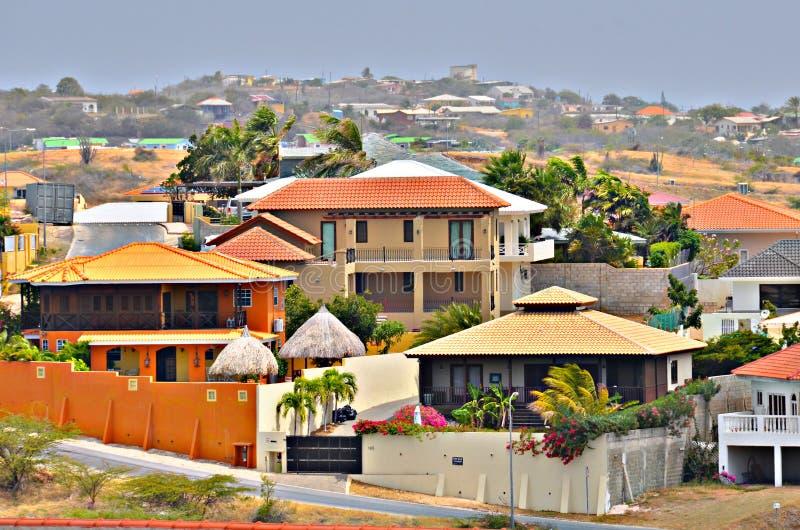 Huizen in Willemstad, Curacao stock afbeeldingen