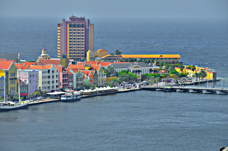 Huizen in Willemstad, Curacao stock afbeelding