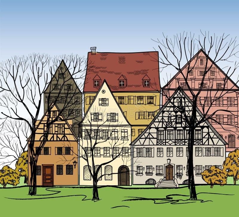 Huizenachtergrond. Europese Cityscape. Comfortabele straat. stock illustratie