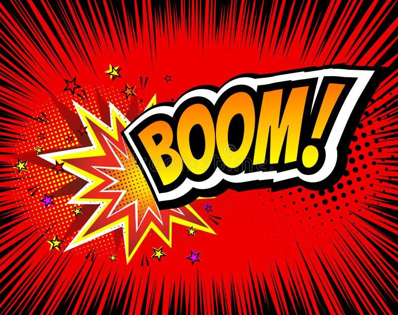 huk Wektorowy Retro Komiczny mowa bąbel, kreskówek komiczek szablon Egzamin próbny Książkowi projektów elementy Efekty Dźwiękowi, ilustracji