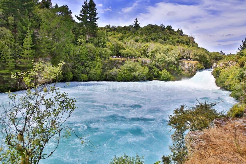 Huka在怀卡托河,新西兰落 免版税库存照片