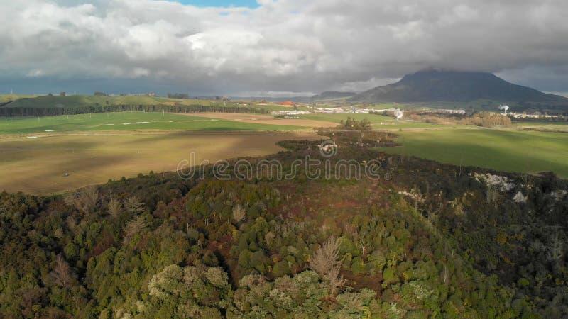 Huka空中全景下跌风景,陶波-新的Zeala 免版税库存照片